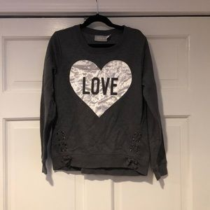 Children's Place Gray/Silver LOVE Sweatshirt LG